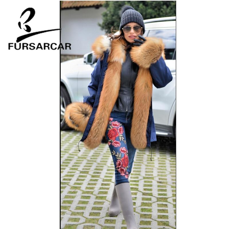 Or Big Fursarcar Avec De Réel Manchette Fox Femmes Et Chaud Épais Fourrure Luxe Style D'hiver Col Parka Nouveau 2018 Manteau wrznwWvPq
