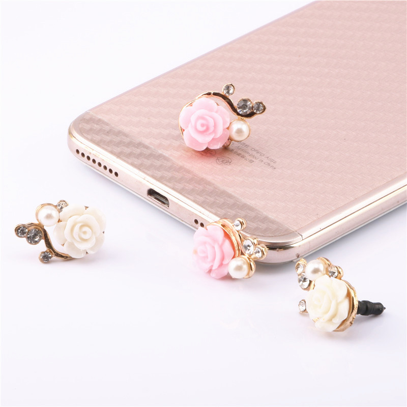 SIANCS Rose 3.5mm Jack Headphone Port Dust Plug Universal Phone Accessories For iPhone Samsung Smartphone Anti Dust Plug