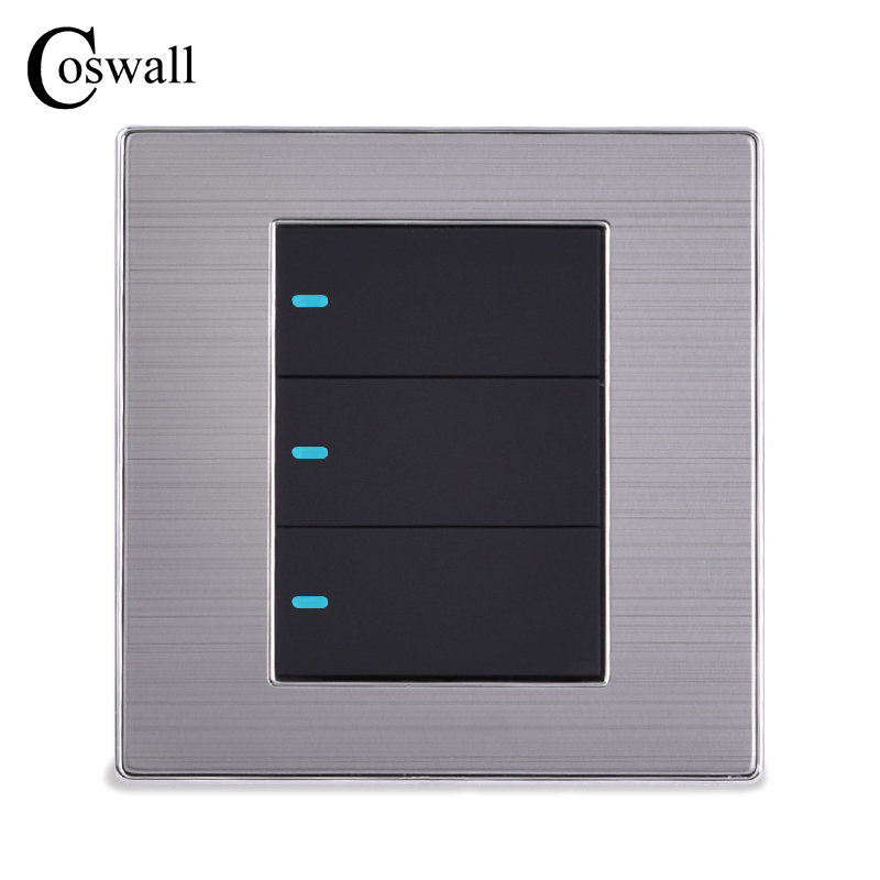 цена на COSWALL 3 Gang 1 Way Luxury LED Light Switch Push Button Wall Switch Brushed Silver Panel Power Conmutador 10A AC 110~250V