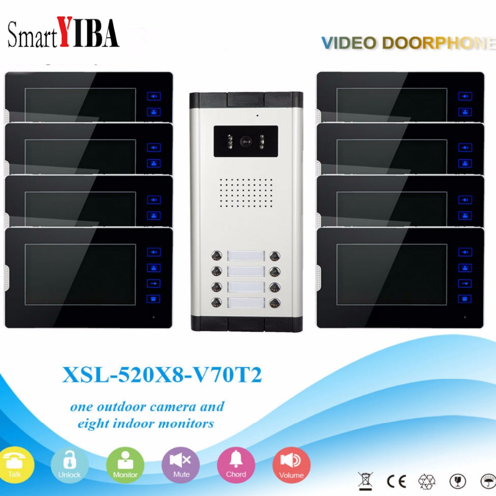 SmartYIBA Wired Home Video Interphone 7 Inch Touch Screen Monitor 8 Units Intercoms For The Apartment Video Doorbell Door Phone