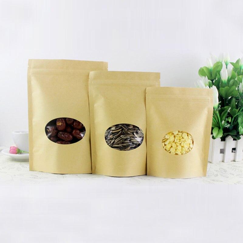100pcs Round Brown Gift Bag Paper Kraft Bag With Window For Wedding/Candy/Tea Kraft Bags Crafts Stand Up Ziplock Packing Bag Diy