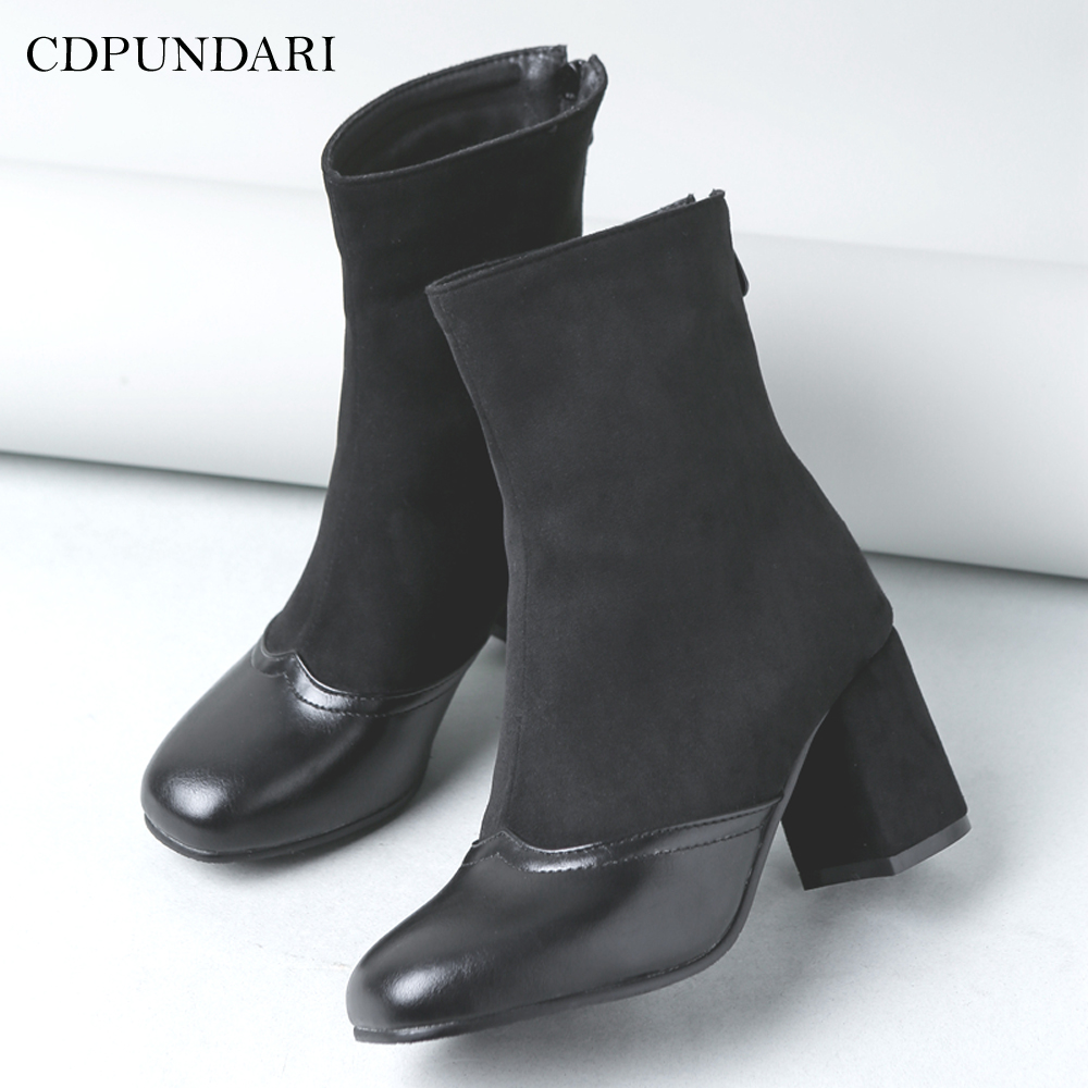 CDPUNDARI Square Toe Ankle boots for women High heels boots Ladies Winter shoes woman enmayla autumn winter chelsea ankle boots for women faux suede square toe high heels shoes woman chunky heels boots khaki black