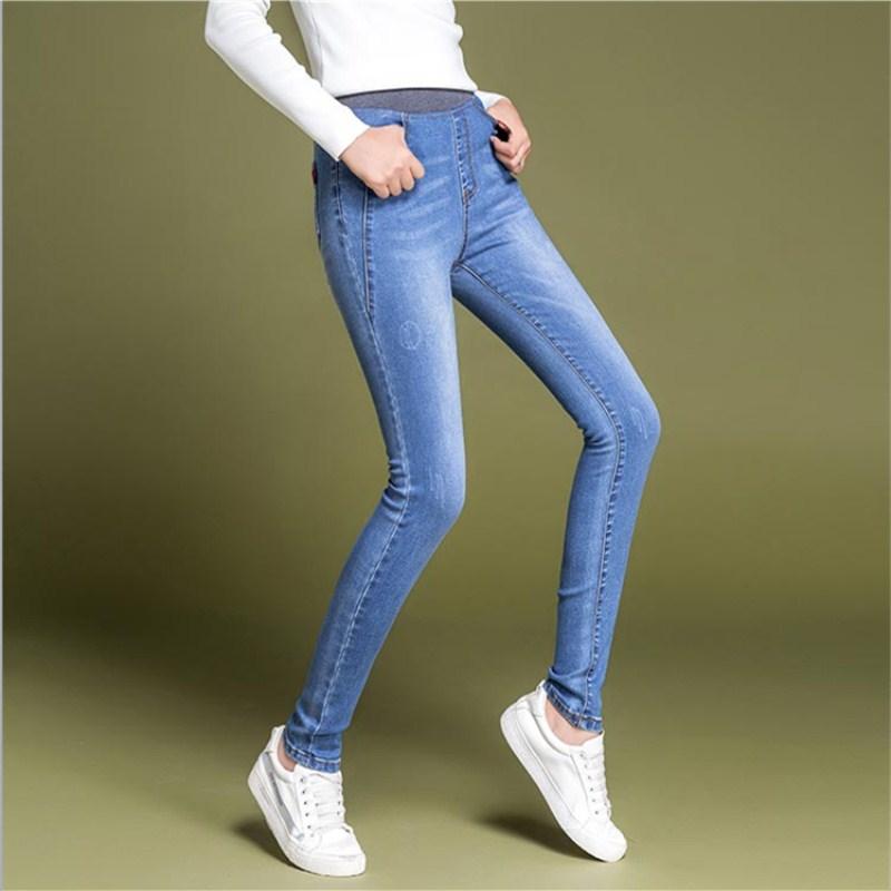 WKOUD Plus Size Mom   Jeans   Pants High Waist Regular Spring Stretch   Jeans   Pants Black Casual Denim Trousers Pencil Pants P8714