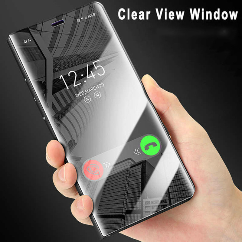Luxury Mirror Flip Case For Samsung Galaxy A8 A5 A7 2018 A530 A730 A8 Plus Clear View Window Smart Cover For Galaxy C8 S8 Plus