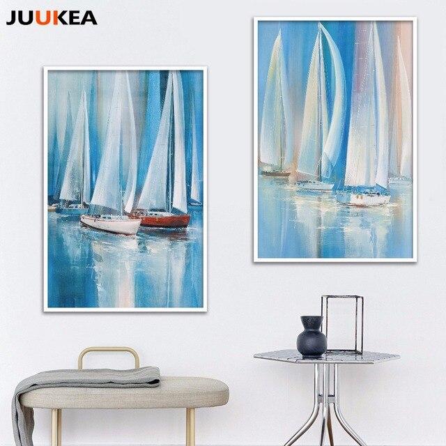 Moderno decorativo lienzo pintura azul océano velero pintura al óleo ...