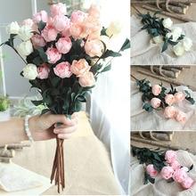 6 หัว/Bouquet Rose Decor ประดิษฐ์ดอกไม้ตกแต่งบ้านเทียมปลอมดอกไม้สำหรับโรงงานสวน Decor  ถือดอกไม้