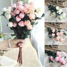 6 cabezas/ramo decoración de rosas Casa de flores artificiales decoración imitación flor falsa para jardín planta decoración de escritorio Flor de mano