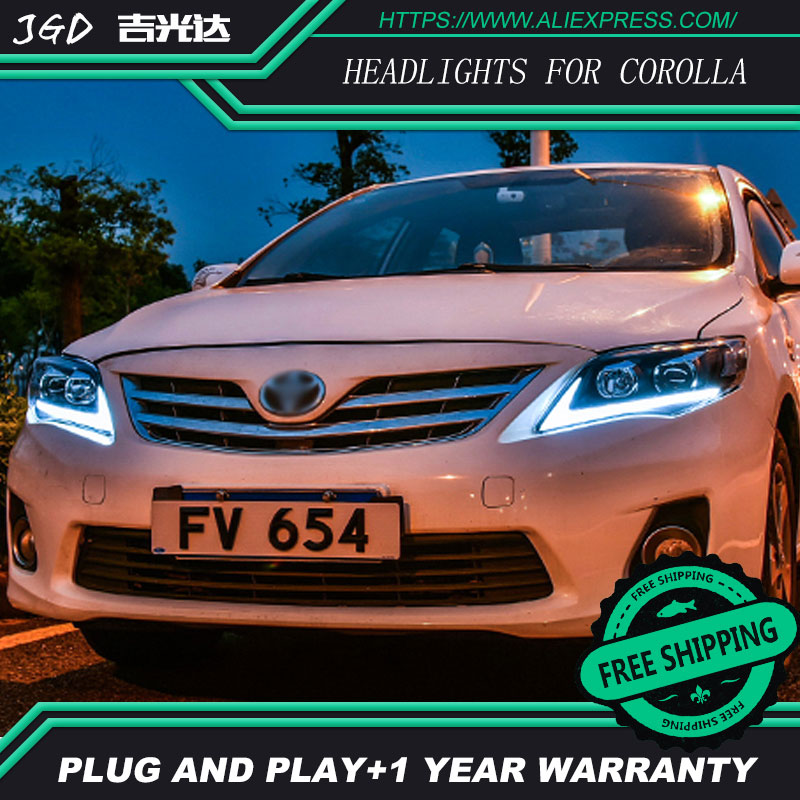 цена на Car Styling for Toyota Corolla Headlights 2011 Corolla LED Headlight DRL Bi Xenon Lens High Low Beam Parking Fog Lamp