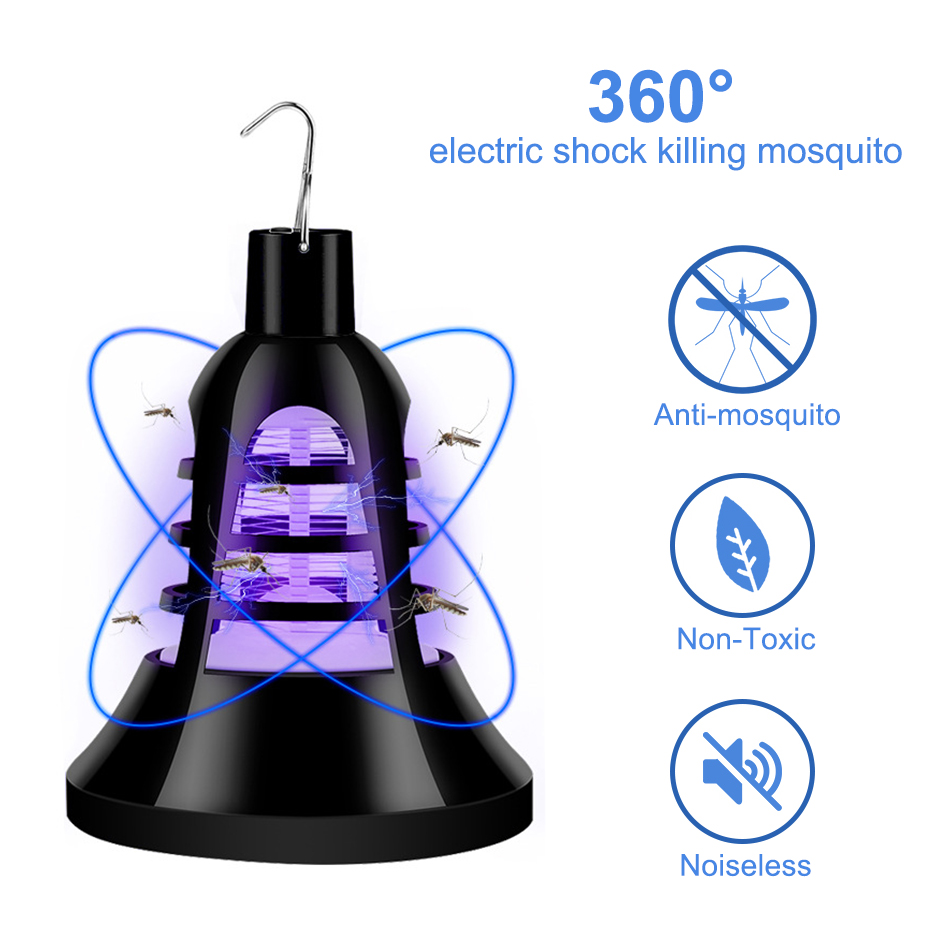 USB Bug Zapper LED Mosquito Insect Killer Lamp E27 Bulb Electric Pest Moth Fly Anti Mosquito Killer Lights Trap Lamps 220V