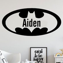 Personalized Boys Name Batman Wall Decal Vinyl Sticker Custom Superhero Nursery Home Decor For Kids Room Cartoon Mural 3N02