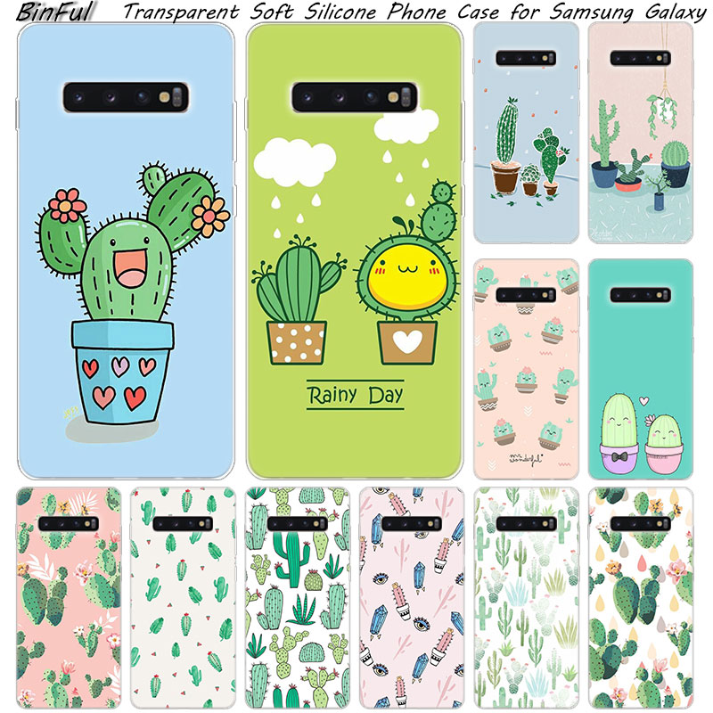 Cactus Leaves Plants Soft Silicone <font><b>Case</b></font> For <font><b>Samsung</b></font> Galaxy S10 S9 S8 Plus <font><b>S7</b></font> Edge A6 A8 Plus A7 A9 2018 A5 2017 Fashion Cover image