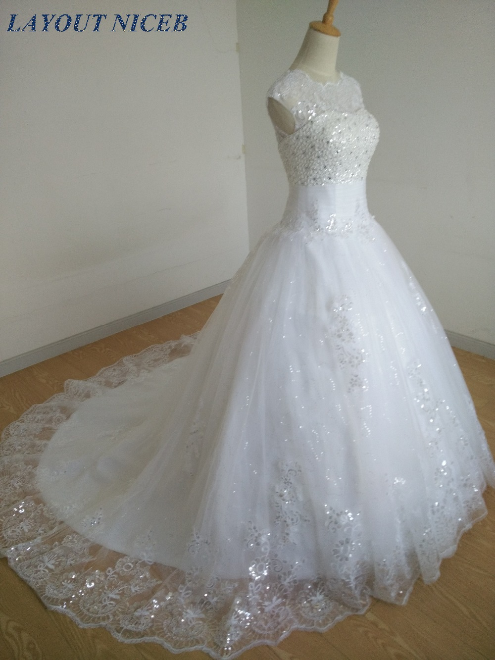 ALI231 Vestidos De Novia 2018 New Appliques Tulle Wedding Dress O ...