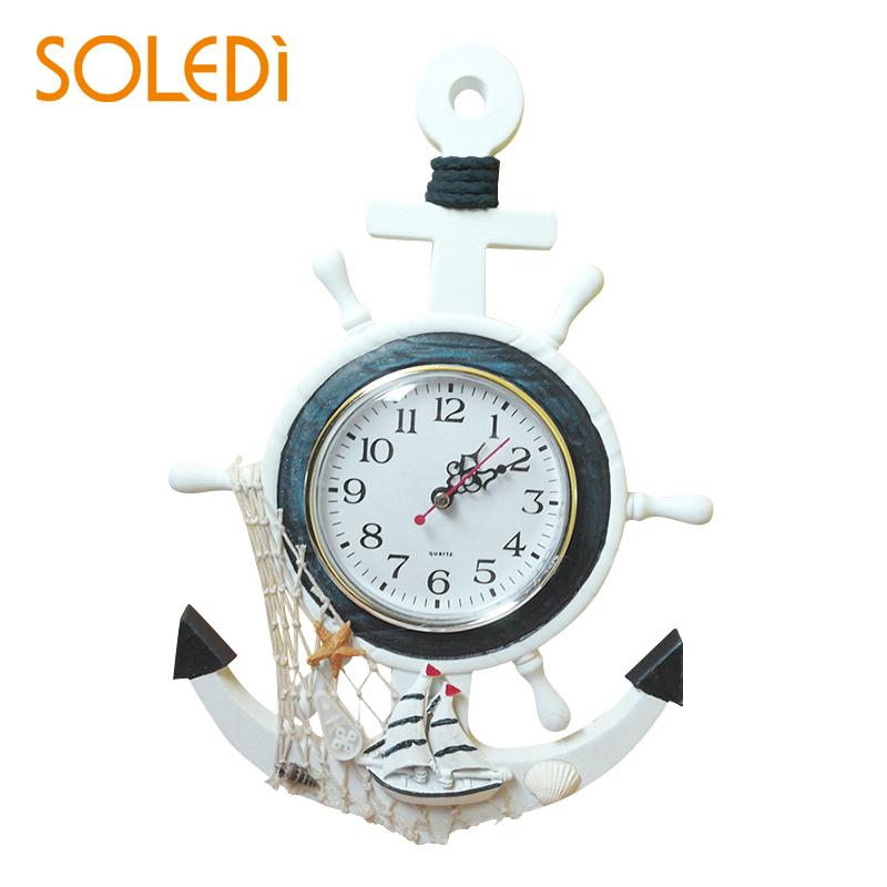 Nordic Decorative Nautical Mediterranean-Style Retro Sea Anchor Clock Mediterranean Sea Sailing Wall Clock Casual Home Decor