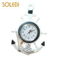 Nordic Decorative Nautical Mediterranean-Style Retro Sea Anchor Clock Mediterranean Sea sailing wall clock Casual Home decor