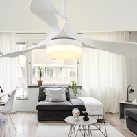 24W Fashion Fan Light LED Energy Saving Remote Control Ceiling Light Fan Family Decor Living Room Tricolor Ceiling Lamp Fan