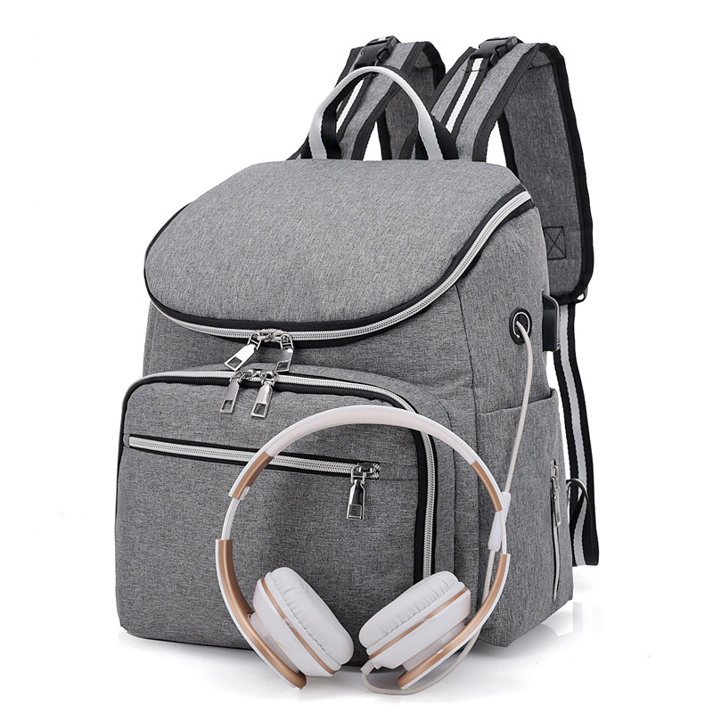 Women USB Charge and Headphone hole Backpack Independent insulation Stylish School Bag Ladies Canvas waterproof Backpack stylish metal and canvas design satchel for women