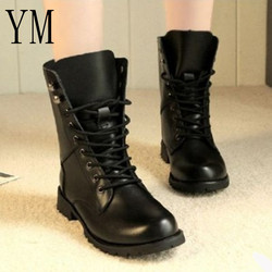 A 2018 Leather Women Boots Dr Martin Boots Shoes High Top Motorcycle Autumn Winter Shoes Lace-Up Woman Snow Lace Up Boots Big 43