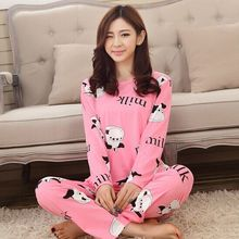 2018 new womens pajamas sweet cotton Animal Cartoon little cat Winter Pajamas Woman Indoor Clothing Home