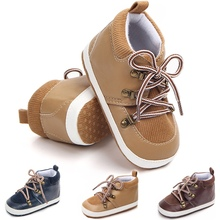Baby Shoes Spring PU Suede Lace Casual Boy Fashion Cotton First Walker Gentleman