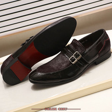 Italian Handmade Leather Men Loafers Shoes High Quality Elegant Black Brown Shoes Monk Strap Slip On Pointed Casual Shoes Men handmade 2017 summer leather shoes men high quality casual shoes brown breathable slip on men shoes lazy loafers