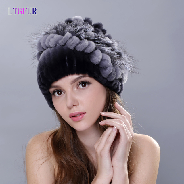 LTGFUR rabbit fur hats for women winter real fur caps with fox fur flowers stripe  beanies 2016 new Russia high quality hat