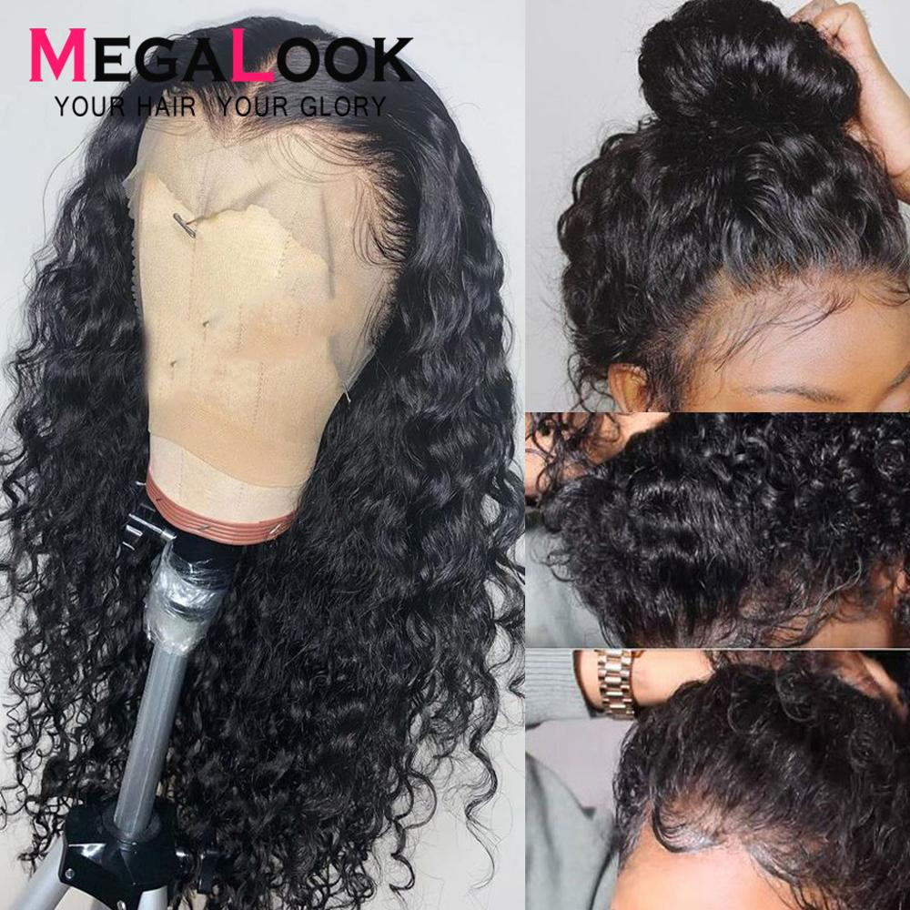 Glueless 360 Lace Frontal Human Hair Wigs Pre Plucked Malaysian Remy Water Wave Lace Front Wig For Black Women Bleached Knots