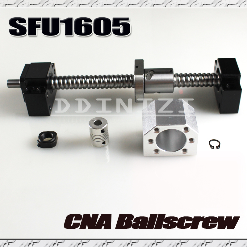 SFU1605 set:SFU1605 rolled ball screw C7 with end machined + 1605 ball nut + nut housing+BK/BF12 end support + coupler RM1605 rolled ballscrew assembles1 set sfu1605 l750mm bk12 bf12 ballnut end support 1605 nut housing bracket 6 35 10mm couplers