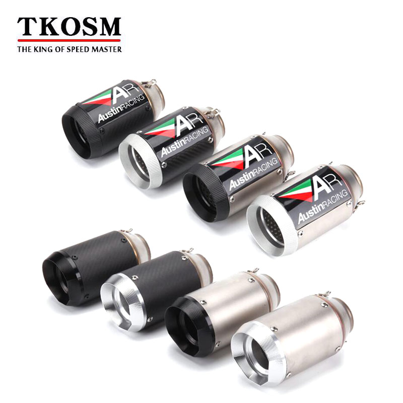 TKOSM 51mm Motorcycle Exhaust Pipe AKRAPOVIC Exhaust AR Exhaust SC Exhaust Silencer For Z1000 Z750 Z800 NINJA250 Tmax530 KTM ATV zs racing 51mm motorcycle exhaust muffler sc gp escape exhaust mufflers carbon fiber exhaust pipe for z1000 z750 z800 ninja250