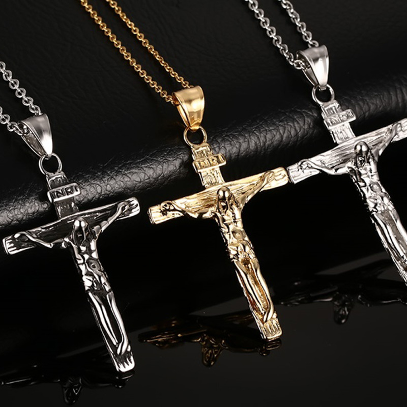 Vnox Vintage Crucifix Pendant Necklace for Men Stainless Steel Cross Jesus Jewelry vintage ivory decorated carving stainless steel pendant necklace