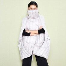 LYNETTE'S CHINOISERIE  2016 Winter New Arrival Women Loose Asymmetrical Cloak Style White Duck Down Jackets Coat