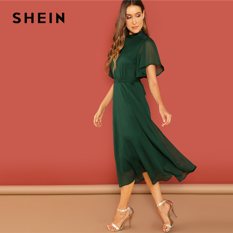 SHEIN Weekend Casual Green Flutter Sleeve Short Sleeve Split Tie Back Solid Stand Collar Dress Women Autumn Elegant Dress