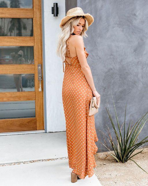 2019 Summer New Sexy Split Ruffled Sling Black Wave Dress Kylie jenner Spaghetti Strap Dress Vestiti Donna Eleganti Orange Dress 3