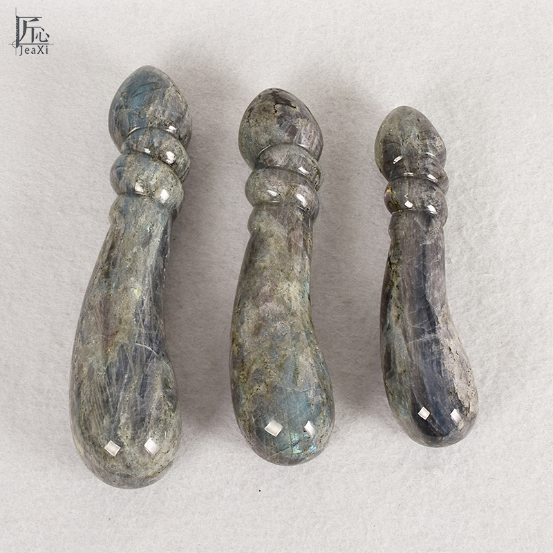 Natural big size new labradorite massage wand Relaxing crystal wand acupoint point stick reiki healing stone body chakra massage top 967 beautiful color labradorite ashtray 009