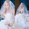 Novo Estilo romântico Ouro Lantejoulas Apliques Véus de Noiva Andar de Comprimento Longo Véu Do Casamento de Véu De Noiva Longo