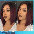 ombre bob wig synthetic heat resistant 1b/99J burgundy red short straight synthetic lace front wig for black women