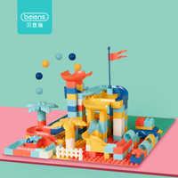 Beiens Big Size Building Blocks 95-154 PCS DIY Toys for Kids Marble Race Run Track Blocks Children Maze Balls Funnel Slide Block