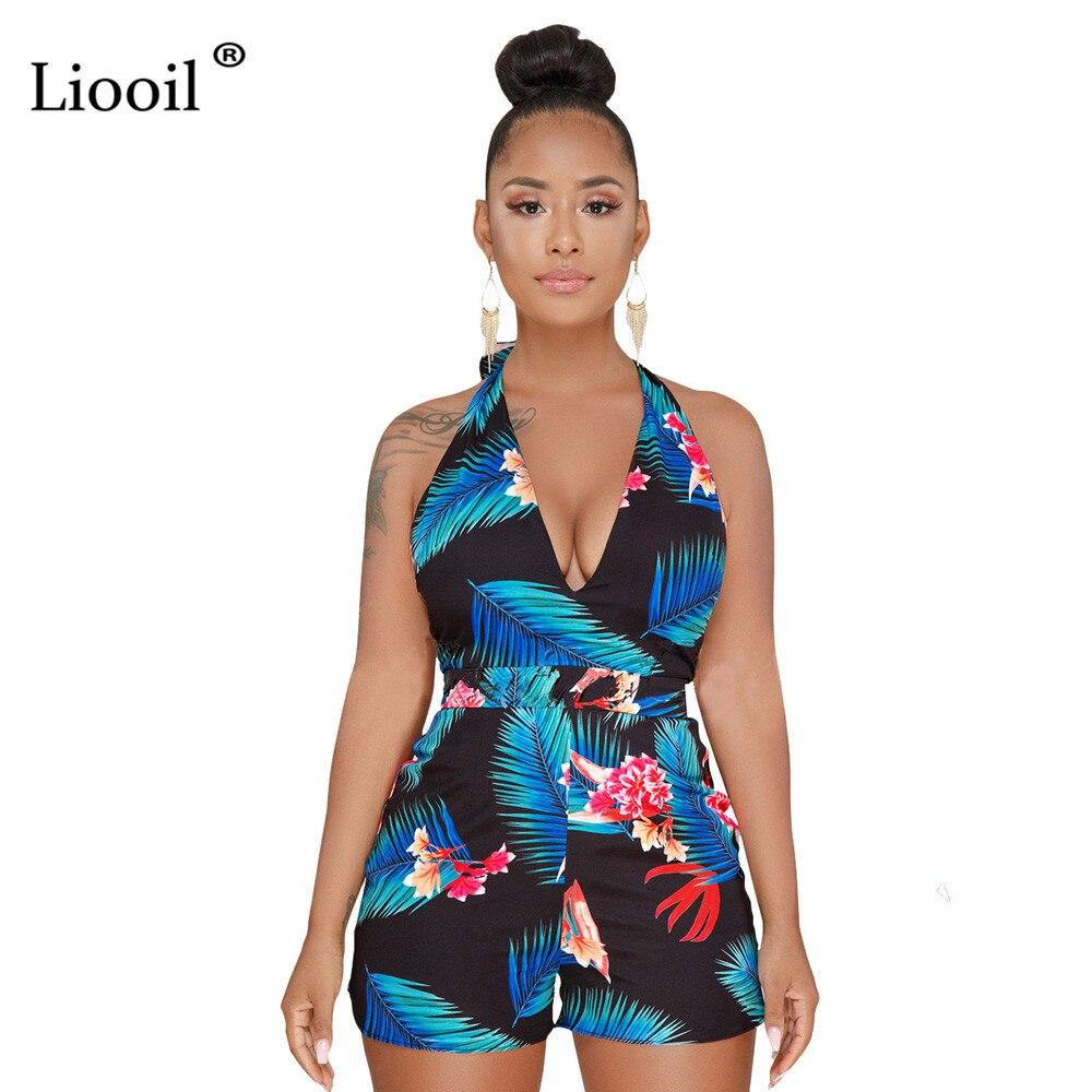Liooil летние пикантные Клубные принтом женские комбинезон шорты без рукавов с v-образным вырезом спинки на шнуровке черные комбинезоны