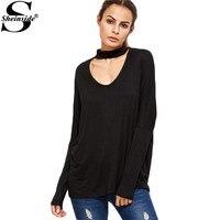 Sheinside Famous Brand Women Korean Fashion Cothing Women Long Sleeve T Shirt Black Cutout Choker Drop