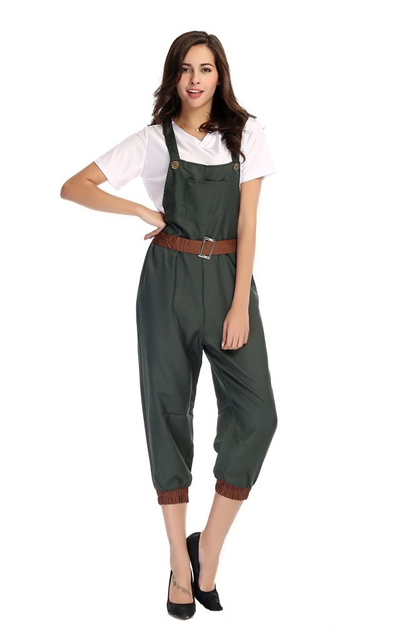 1128b37a1dc3 1940s Factory Workers Costumes Plus Adult Ladies WW2 Wartime Fancy Dress Up  Halloween Uniform Outfit High Quality Army Dungarees