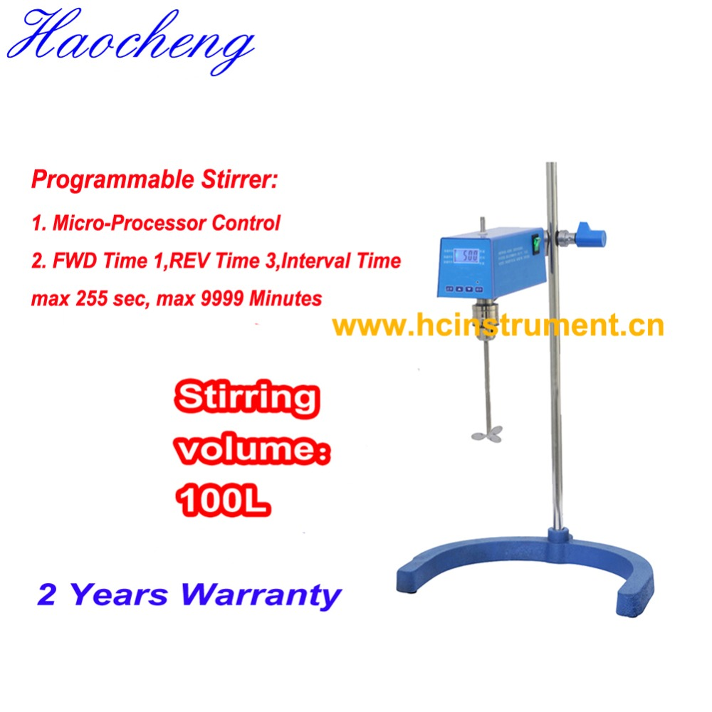 Free shipping, 100L Chemical Acid Digital Electric Stirrer with Timer free shipping ptfe stir rod for overhead stirrer