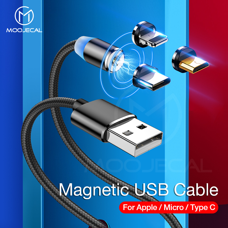 MOOJECAL LED Magnetic USB Cable for iPhone Xs Max 8 7 6 Plus USB Type C Cable Micro USB