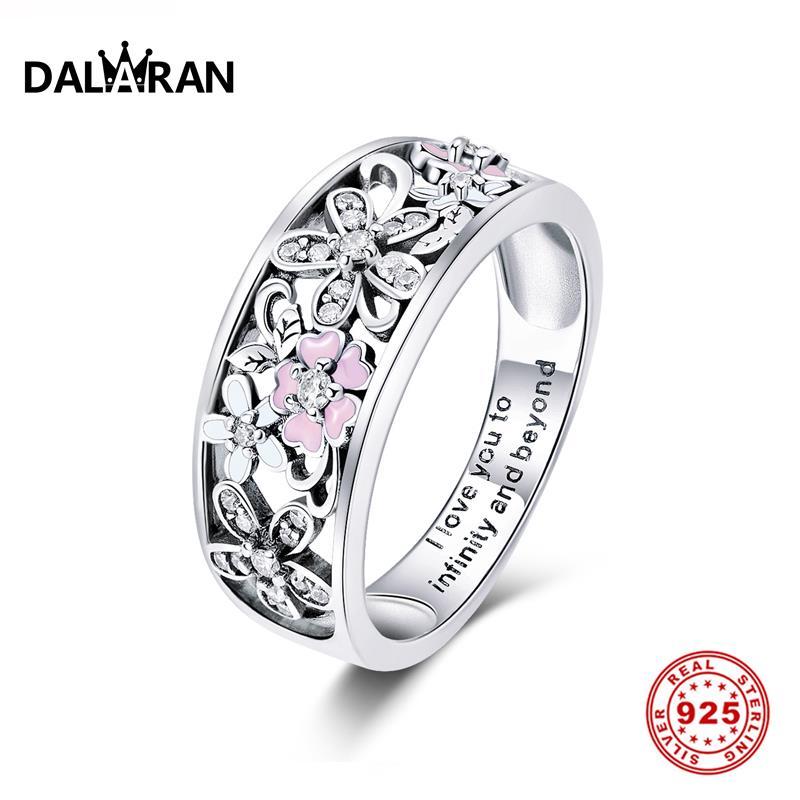 DALARAN 100% Genuine Silver Ring Daisy Flower & Infinity Love Pave Openwork 925 Sterling Rings For Women Wedding Jewelry