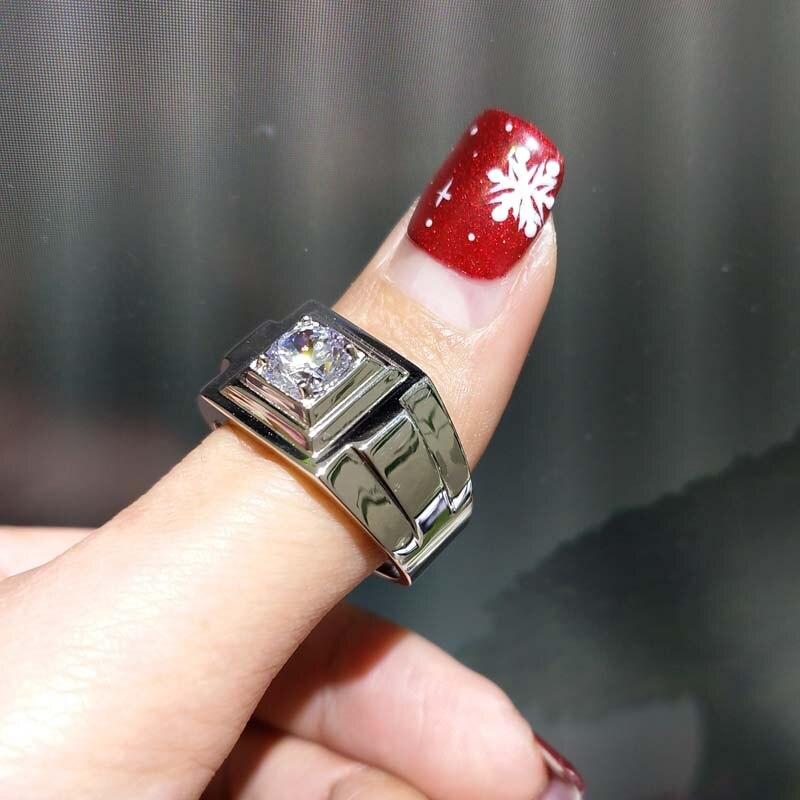 FLZB, wielki człowiek pierścień naturalny biały topaz kamień szlachetny 1.0ct w 925 roku sterling silver z 18 k białe złoto platerowane obrączka dla mężczyzny w Pierścionki od Biżuteria i akcesoria na  Grupa 1