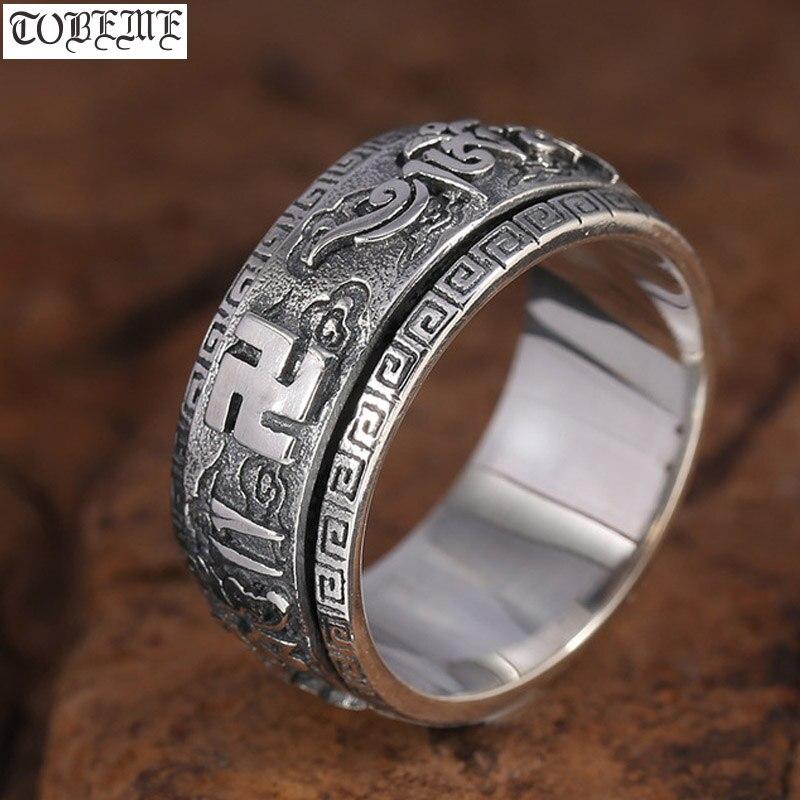 Hecho a mano 925 Sterling Silver Anillo Tibetano Mantra Estilo Spinner Tamaño R//9