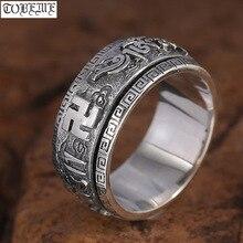Handgemaakte 925 Zilveren Tibetaanse Spinning Ring Sterling Tibetaanse Mantra Draaien Ring Boeddhistische Woorden Ring Tibetaanse Geluk Ring