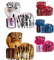 Lo recomiendo! espesar 12 oz guantes de boxeo profesional Sanda/kicking Guantes deportes guantes de boxeo tigre patrón de Los Hombres/de las mujeres