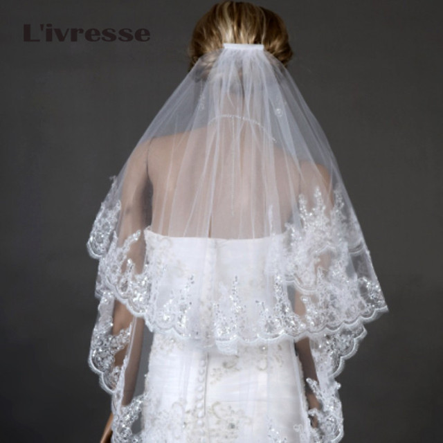 L'ivresse 2017 Bridal Veil Two Layers White Ivory Tulle with Comb Appliques Wedding Accessories New Wedding Veils zfy1031