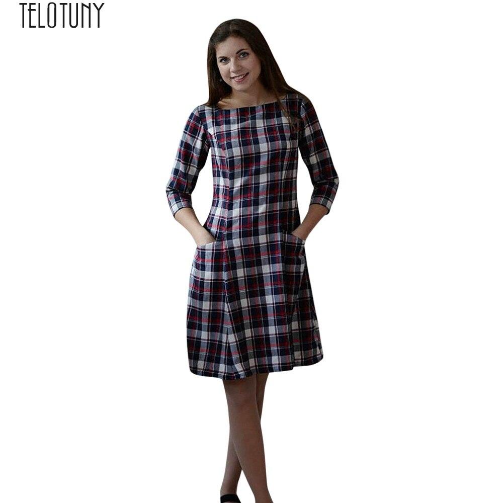 TELOTUNY Dress Mom Family Clothes Long-Sleeve New Fashion Me Plaid Hot-J14 Pockets Women