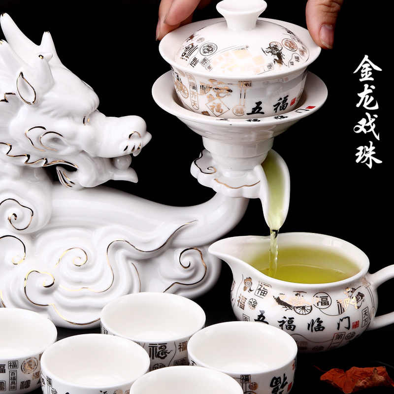 Hot Hot Koop China KongFu Theepot thee sets Nuttig 8 Persoon Chinese stijl Thee Pot Lui Thee Sets met China 12 dieren designing