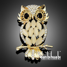 Top quality Fashion Jewelry Studded Crystal Cat Eye Stone Rhinestone Owl Brooch Bird Brooches pin for Women  Ag005